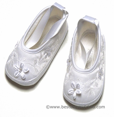 Sarah Louise Infant Baby Girls Silk Christening Shoes with Flowers and Satin Ankle Ribbon - WHITE