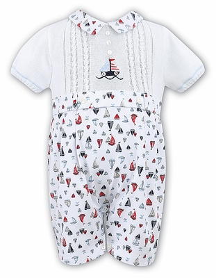 Sarah Louise Infant Boys Blue / Red Sailboat Print / White Sweater Knit Button On Suit