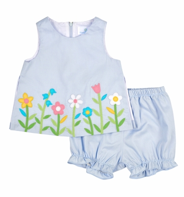 Florence Eiseman Infant Girls Blue Pique Flower Garden Border Dress with Bloomers