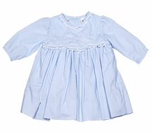 Sarah Louise Infant Girls Embroidered Dress with Lace Trim - Blue