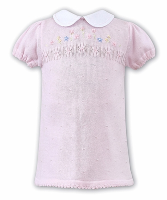 Sarah Louise Infant Girls Embroidery Flowers on Pink Sweater Knit Dress