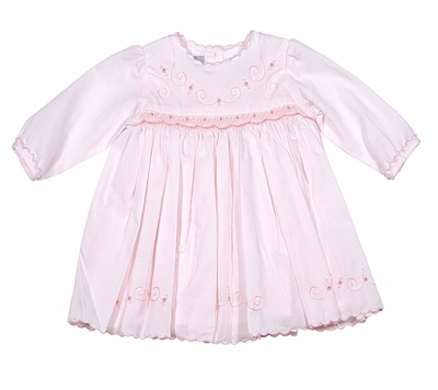 Sarah Louise Infant Girls Pink Smocked / Embroidered Dress - Long Sleeves