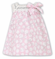 Sarah Louise Infant Girls Pink / White Dots Voile Dress with Crochet Lace Trim