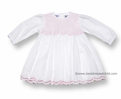 Sarah Louise Infant Girls White Dress with Fully Smocked Bodice in Pink with Scallop Hem