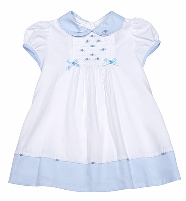 Sarah Louise Infant Girls White Embroidered Dress - Blue Trim and Collar