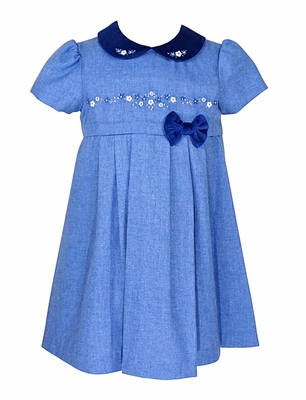 Sarah Louise Infant / Toddler Girls Blue Embroidered Dress with Velvet Collar and Bow