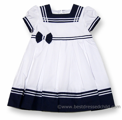 Sarah Louise Infant / Toddler Girls Classic White / Navy Blue Sailor Suit Dress