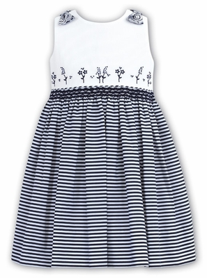 06f9050ea Sarah Louise Infant   Toddler Girls Navy Blue   White Striped ...