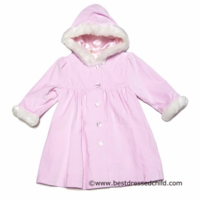 147c6a9f0158 Sarah Louise Infant   Toddler Girls Pink Coat with Hood   Faux Fur Trim