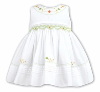 Sarah Louise Infant / Toddler Girls Sleeveless White Dress - Smocked in Green / Citrus Orange Embroidery
