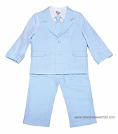 Sarah Louise Little Boys Light BLUE 5 Piece Dress Suits - Pants / Shirt / Vest / Necktie / Jacket