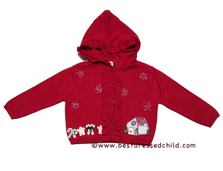 Sarah Louise Red Hooded Cardigan Sweater with Gingerbread House