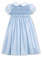 Sarah Louise Toddler Girls Blue Dress with Collar - Fully Smocked Bodice