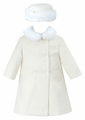Sarah Louise Baby   Toddler Girls Dress Coat with Faux Fur Collar and Hat -  Ivory 4421aca99
