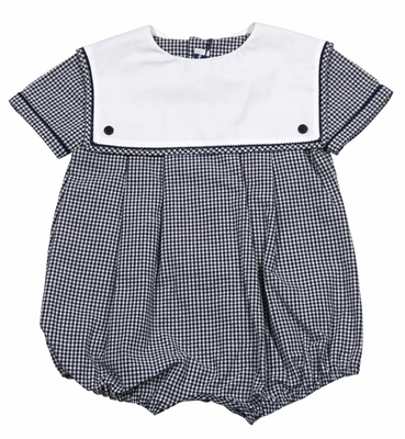 Sophie & Lucas Baby Boys Navy Blue Check Bubble with Square White Collar