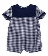 Sophie & Lucas Baby Boys Navy Blue Check Romper with Square Collar