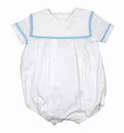 Sophie & Lucas Baby Boys White Bubble with Square Collar Trimmed in Turquoise Blue