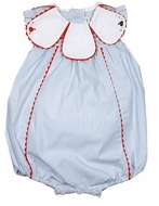 Sophie & Lucas Baby Girls Blue Stripe Seaside Bubble - Petal Collar
