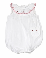 Sophie & Lucas Baby Girls Darling White Bubble - Embroidered Red Valentine's Hearts