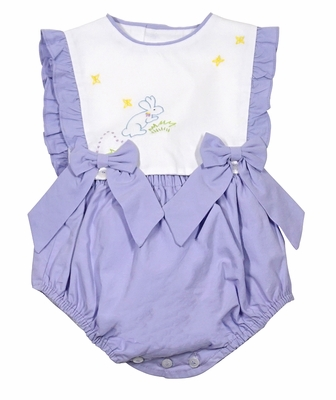 Sophie & Lucas Baby Girls Lilac Purple Bubble - Embroidery Easter Bunny