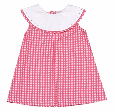 Sophie & Lucas Baby Girls Pink Check Dress & Bloomers - White Collar with Embroidery