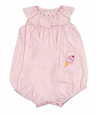 Sophie & Lucas Baby Girls Pink Embroidery Ice Cream Cone Bubble