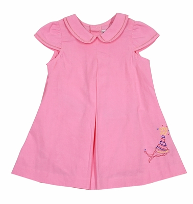 Sophie & Lucas Baby Girls Pink First Birthday Dress - Embroidery Party Hat