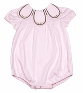 Sophie & Lucas Baby Girls Tulip Collar Bubble - Pink with Brown Stitches