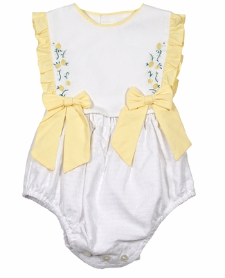 Sophie & Lucas Baby Girls White / Yellow Ruffle Bubble with Bows - Embroidered Flowers