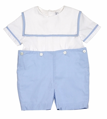 Sophie & Lucas Baby / Toddler Boys Blue Button On Sailor Suit