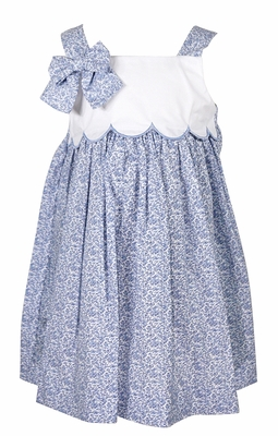 Sophie & Lucas Baby / Toddler Girls Blue Floral Scallop Dress with Bow