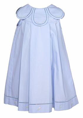 Sophie & Lucas Baby / Toddler Girls Dress with Embroidered Petal Neckline - Blue - Sleeveless
