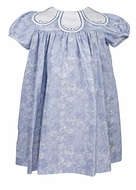 Sophie & Lucas Baby / Toddler Girls Floral Dress with Embroidered Petal Collar - French Blue