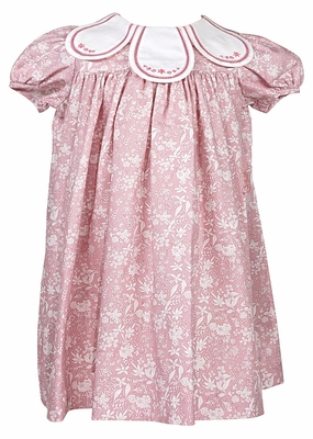 Sophie & Lucas Baby / Toddler Girls Floral Dress with Embroidered Petal Collar - Rose Pink