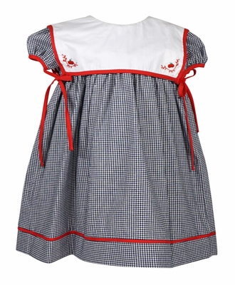 Sophie & Lucas Baby / Toddler Girls Grey Check Float Dress - Apple Embroidered Collar