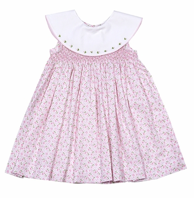 Sophie & Lucas Baby / Toddler Girls Pink Floral Smocked Dress with Round Collar