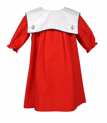 Sophie & Lucas Baby / Toddler Girls Red Corduroy Christmas Dress - White Collar with Christmas Trees