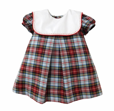Sophie & Lucas Baby / Toddler Girls Red Plaid Dress - Square White Collar