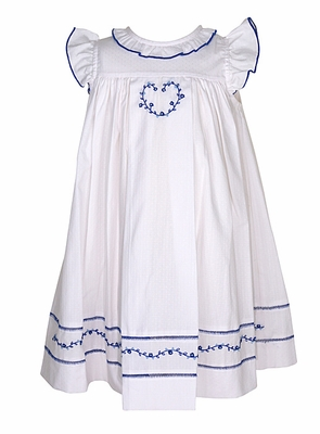 Sophie & Lucas Baby / Toddler Girls White Swiss Dot Dress - Flutter Sleeves - Blue Heart Embroidery
