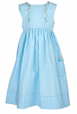 Sophie & Lucas Girls Sleeveless Turquoise Summer Garland Dress - Pink / Yellow Flower Embroidery and Pocket