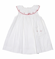 Sophie & Lucas Girls White Dress with Red Valentine's Hearts Embroidery - Pocket - Exclusively at The Best Dressed Child