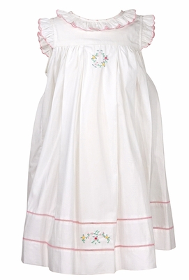 Sophie & Lucas Girls White Prim Ruffle Dress - Pink Flower Embroidery