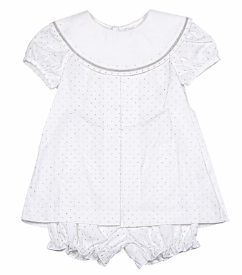 Sophie & Lucas Infant Girls Winter White / Silver Dots Dress with Bloomers