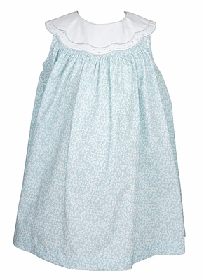 Sophie & Lucas Infant / Toddler Girls Aqua Floral Dress with Embroidered Scallop Collar
