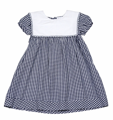 Sophie & Lucas Infant / Toddler Girls Navy Blue Check Dress with Sailor Collar