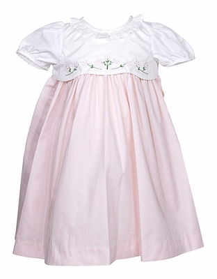 Sophie & Lucas Infant / Toddler Girls Pink / White Dress with Flower Embroidery