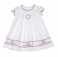 Sophie & Lucas Infant / Toddler Girls White Dress - Christmas Red Heart Embroidery