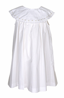 Sophie & Lucas Infant / Toddler Girls White Dress with Embroidery - Round Neck