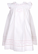 Sophie & Lucas Infant / Toddler Girls White Swiss Dot Dress - Flutter Sleeves - Embroidered Pink Heart