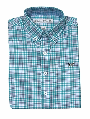 Southern Point Boys Youth Hadley Shirt - Long Sleeves - Green / Blue Plaid